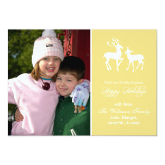"""Reindeer Christmas Cards (Happy Holidays Gold) 5"""" X 7"""" Invitation Card"""