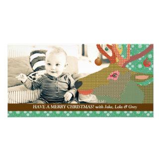 Reindeer Christmas Green Photo Card