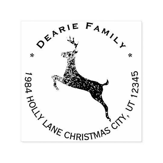 Reindeer Christmas Holiday Return Address Self-inking Stamp