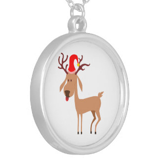Reindeer Christmas Holidays Joy Silver Plated Necklace