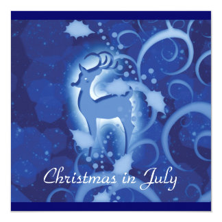 Reindeer Christmas July winter wonderland 13 Cm X 13 Cm Square Invitation Card
