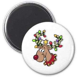 Reindeer Christmas Lights 6 Cm Round Magnet