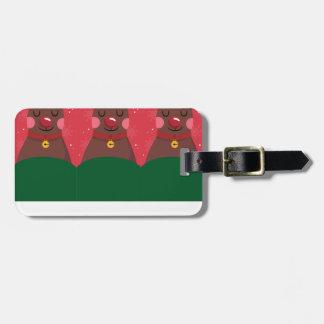 reindeer christmas luggage tag