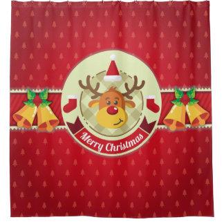 Reindeer & Christmas Ornaments Shower Curtain
