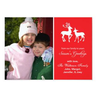 "Reindeer Christmas (Season's Greetings Red) 5"" X 7"" Invitation Card"
