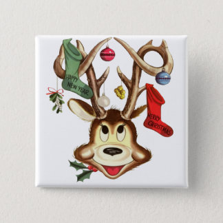 Reindeer Christmas Stockings 15 Cm Square Badge