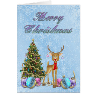 Reindeer Christmas Tree Christmas Bulbs Card