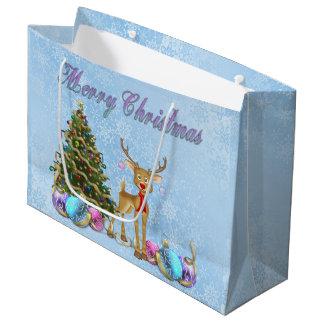 Reindeer Christmas Tree Christmas Bulbs Large Gift Bag