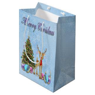 Reindeer Christmas Tree Christmas Bulbs Medium Gift Bag