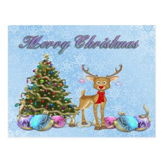Reindeer Christmas Tree Christmas Bulbs Postcard