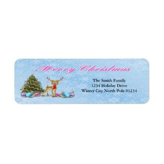 Reindeer Christmas Tree Christmas Bulbs Return Address Label