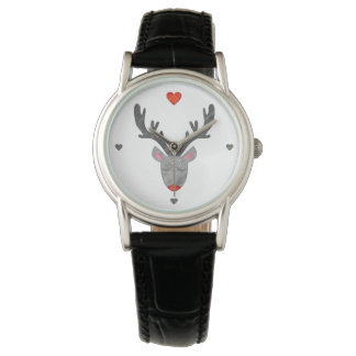 Reindeer! Classic Black Leather Watch