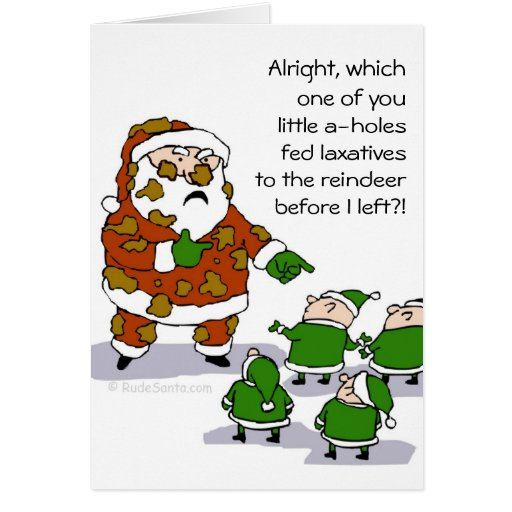 Reindeer crap greeting card zazzle for Funny reindeer christmas cards