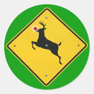 Reindeer Crossing Round Sticker
