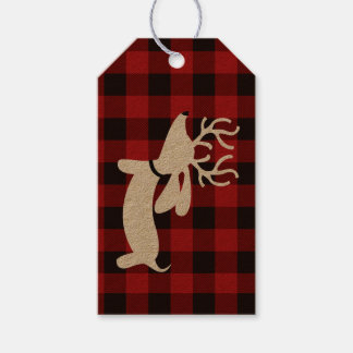 Reindeer Dachshund Christmas Gift Tag on Plaid