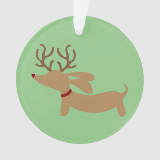 Reindeer Dachshund Christmas Tree Ornament