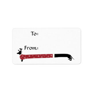 Reindeer Dachshund in a Christmas Sweater Gift Tag