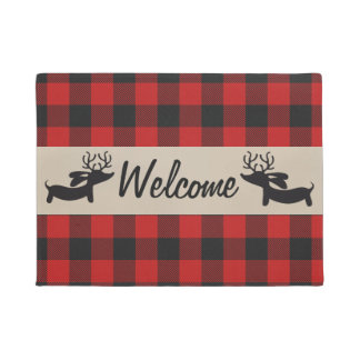 Reindeer Dachshund Welcome Doormat