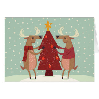 Reindeer Decorating Christmas Tree Holiday Card