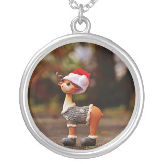 Reindeer decorations - christmas reindeer silver plated necklace