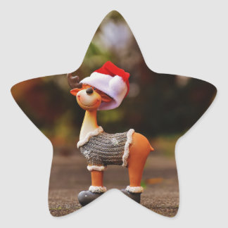 Reindeer decorations - christmas reindeer star sticker