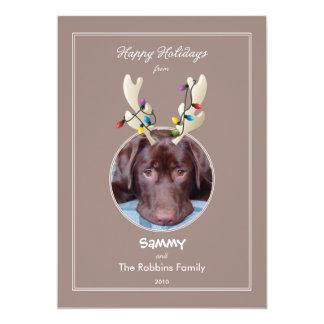 Reindeer Ears Pet Holiday Photo Card