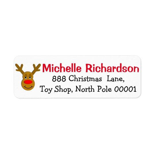 Reindeer Face Return Address Label