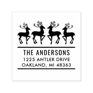 Reindeer Family | Holiday Address Self-inking Stamp