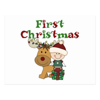 Reindeer First Christmas T-shirts and Gifts Postcard