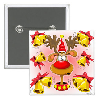 Reindeer Fun Christmas Cartoon with Bells Alarms 15 Cm Square Badge