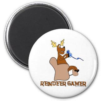 Reindeer Gamer 6 Cm Round Magnet