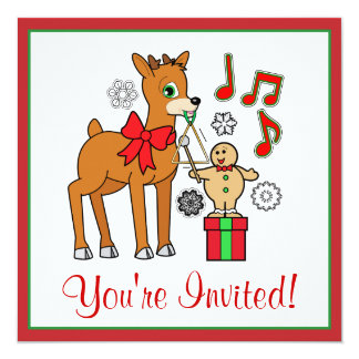 """Reindeer & Gingerbread Boy Christmas Party Invite 5.25"""" Square Invitation Card"""