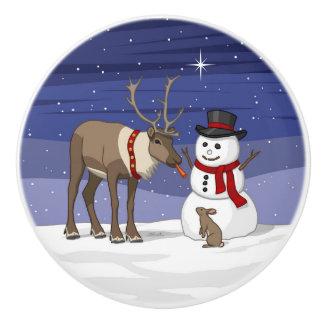 Reindeer Giving Rabbit Snowman Carrot Nose Ceramic Knob