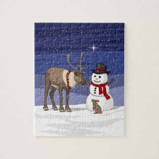 Reindeer Giving Rabbit Snowman Carrot Nose Jigsaw Puzzle