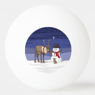 Reindeer Giving Rabbit Snowman Carrot Nose Ping Pong Ball