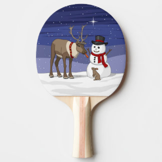Reindeer Giving Rabbit Snowman Carrot Nose Ping Pong Paddle