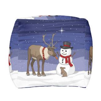 Reindeer Giving Rabbit Snowman Carrot Nose Pouf