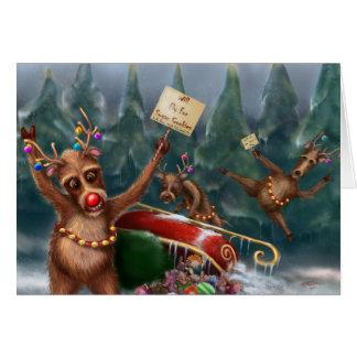 Reindeer Go On Strike Christmas Card