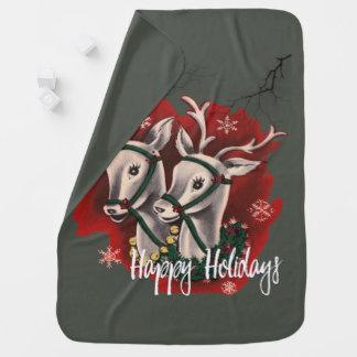 Reindeer Happy Holidays Baby Blanket