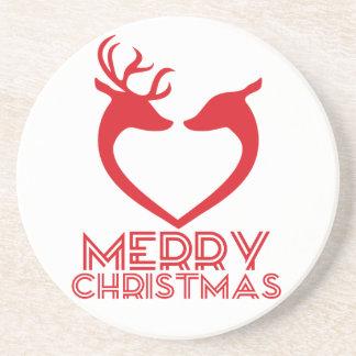 Reindeer Heart Sandstone Coaster