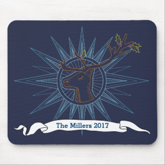 Reindeer Holiday Christmas Navy Art Illustration Mouse Pad