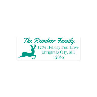 Reindeer Holiday Christmas Return Address Stamp