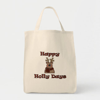 Reindeer Holly Days Tshirts and Gifts Grocery Tote Bag