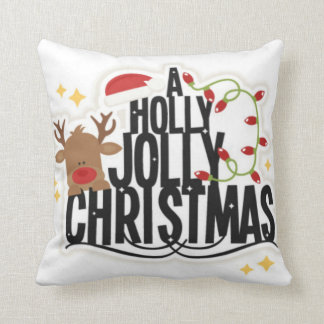 Reindeer Holly Jolly Christmas Pillow