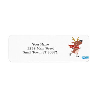 Reindeer ice skate return address label