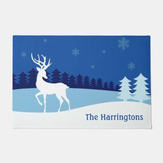 Reindeer Illustration custom name door mat