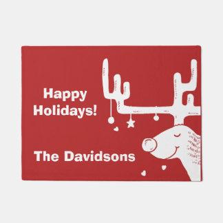 Reindeer illustration custom text door mat