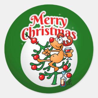 Reindeer in a Christmas tree Round Sticker