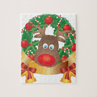 Reindeer in Christmas Wreath Illustration Jigsaw Puzzle