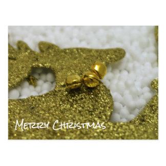 Reindeer in Gold Glitter Postcard